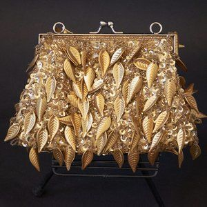 Vintage Gold Leaf Beaded Clutch Purse